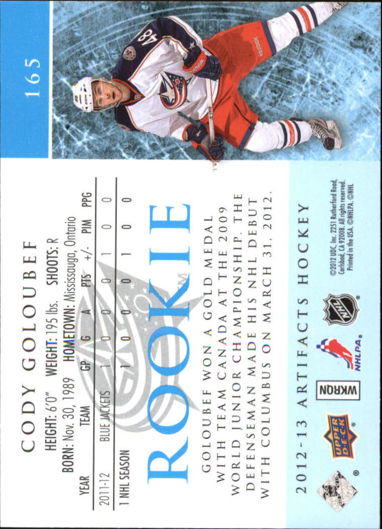2012-13 Artifacts Sapphire #165 Cody Goloubef