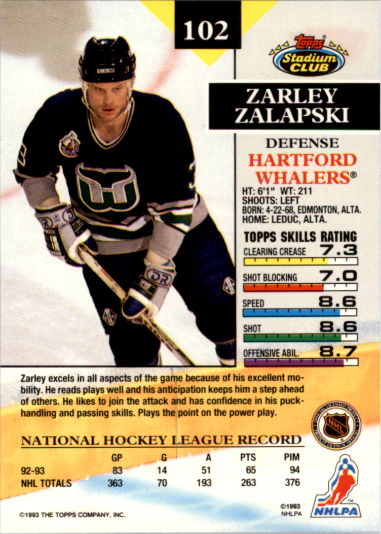 1993-94 Stadium Club Members Only Parallel #102 Zarley Zalapski