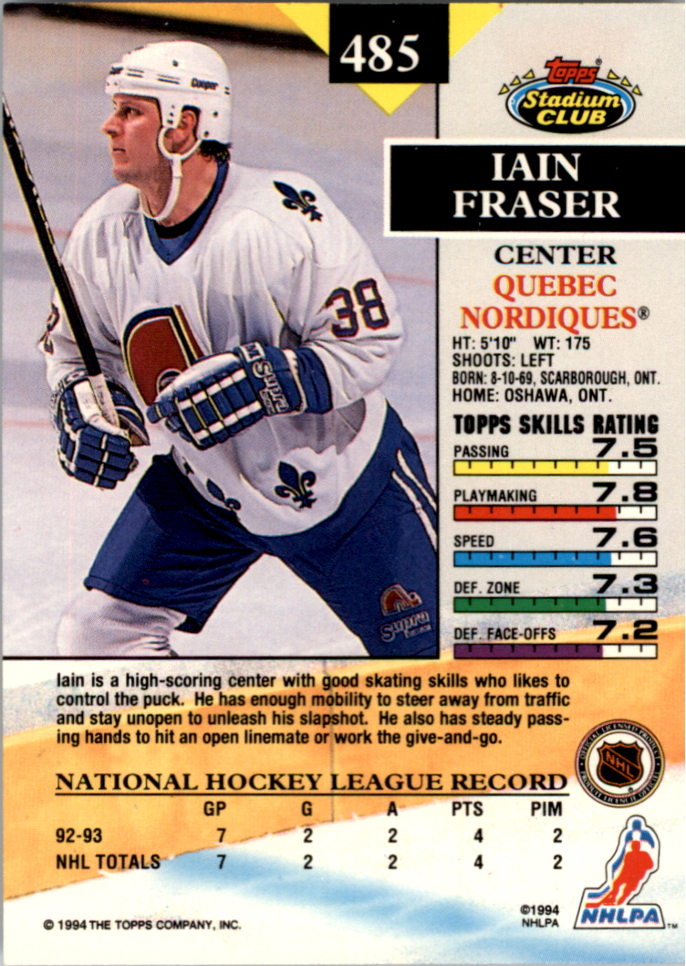1993-94 Stadium Club Members Only Parallel #485 Iain Fraser