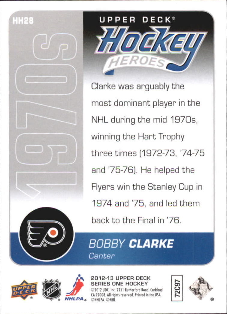 2012-13 Upper Deck Hockey Heroes #HH28 Bobby Clarke back image