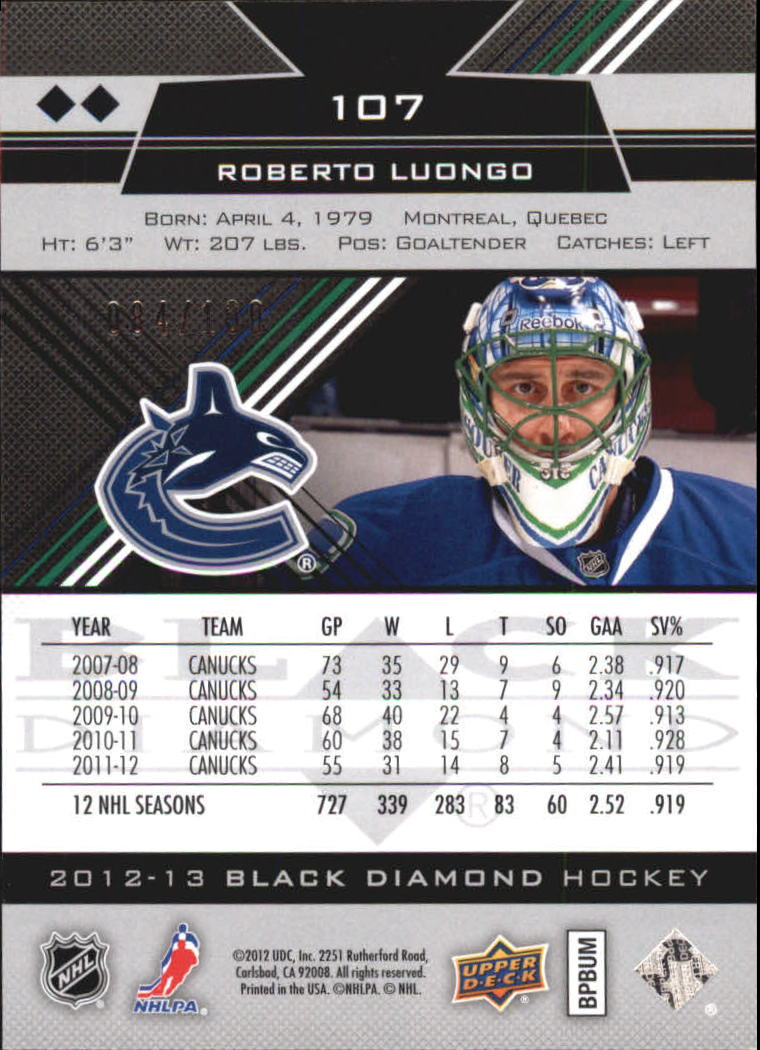 2012-13 Black Diamond Ruby #107 Roberto Luongo