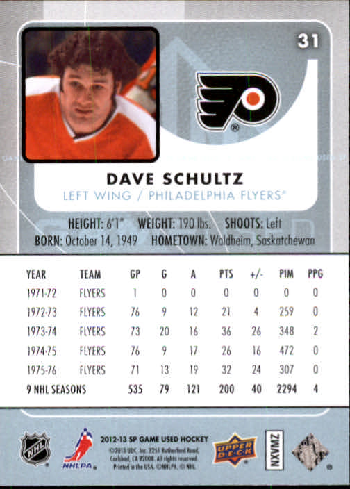 2012-13 SP Game Used #31 Dave Schultz