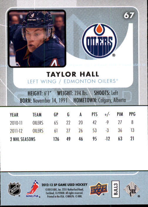 2012-13 SP Game Used #67 Taylor Hall