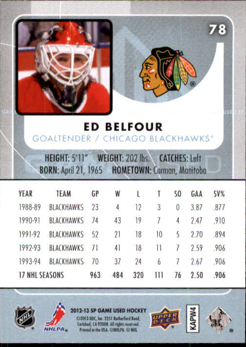 2012-13 SP Game Used #78 Ed Belfour