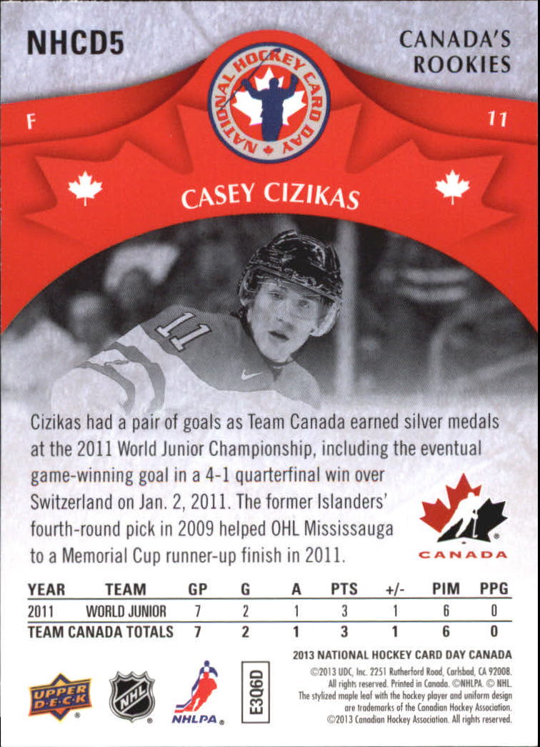 2012-13 Upper Deck National Hockey Card Day Canada #NHCD5 Casey Cizikas CR