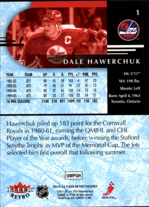 2012-13 Fleer Retro #1 Dale Hawerchuk back image
