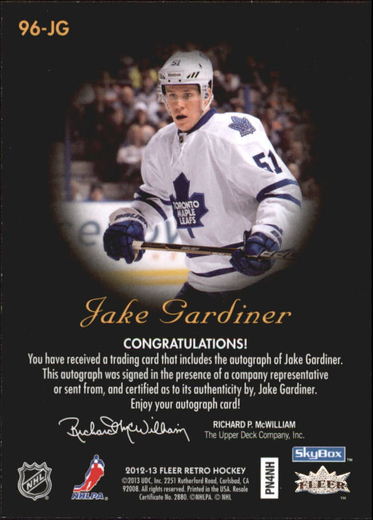 2012-13 Fleer Retro Autographics 1996-97 #96JG Jake Gardiner D