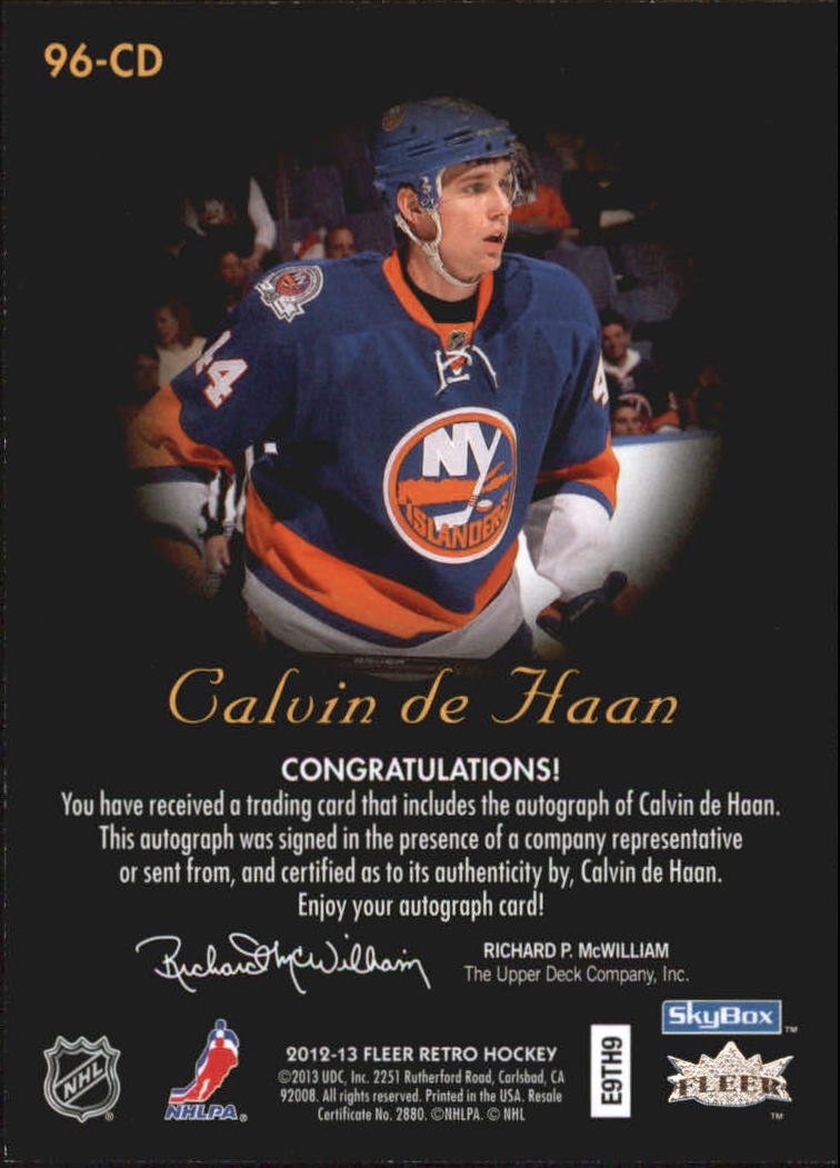 2012-13 Fleer Retro Autographics 1996-97 #96CD Calvin de Haan E