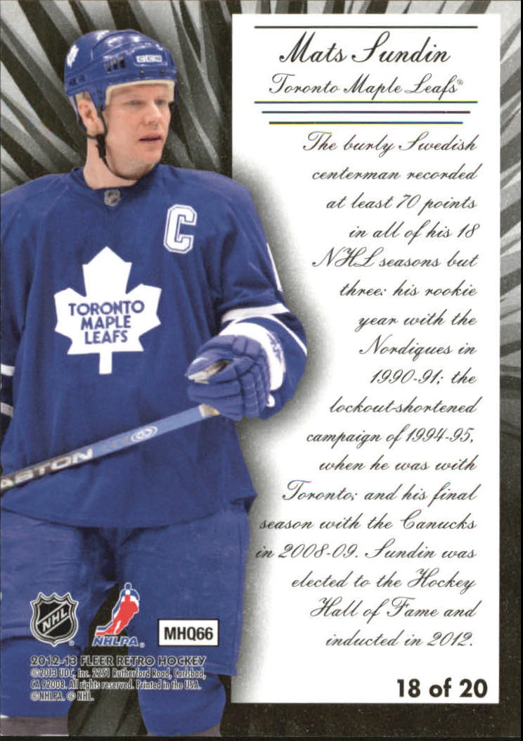 2012-13 Fleer Retro Diamond Tribute #18 Mats Sundin