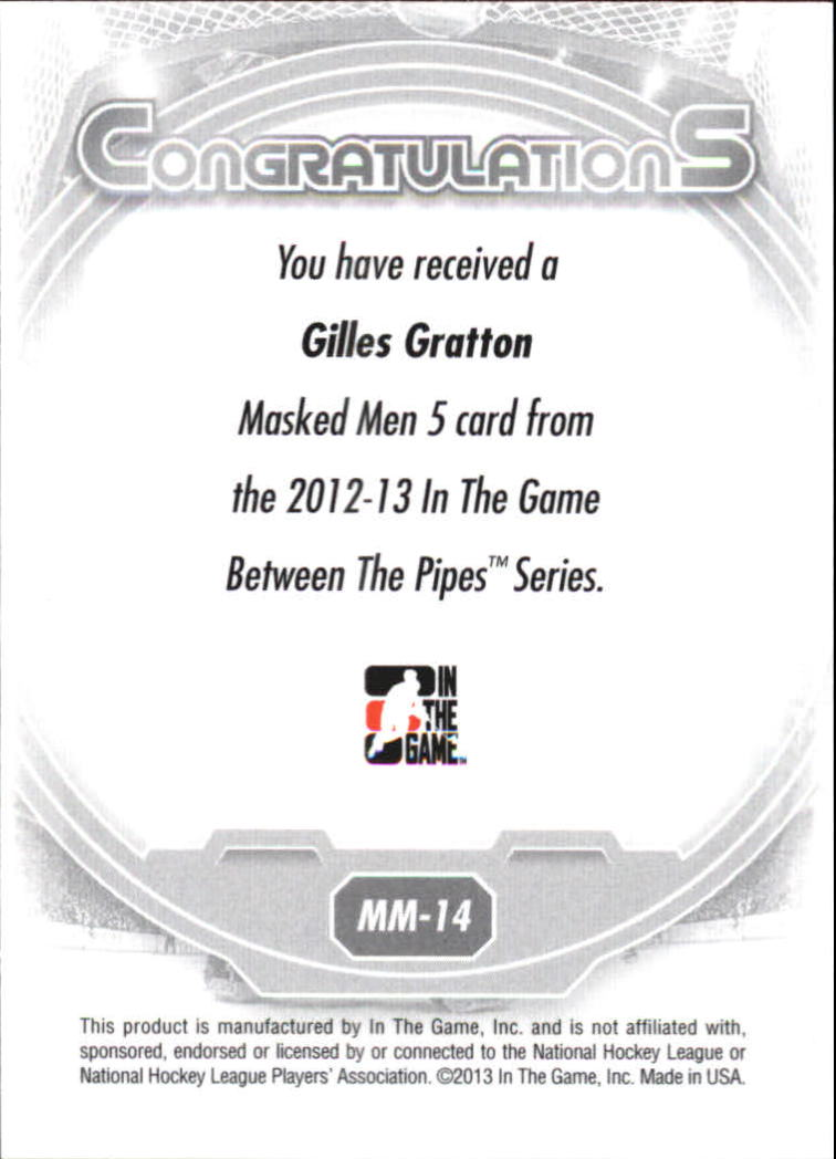 2012-13 Between The Pipes Masked Men V Rainbow #MM14 Gilles Gratton