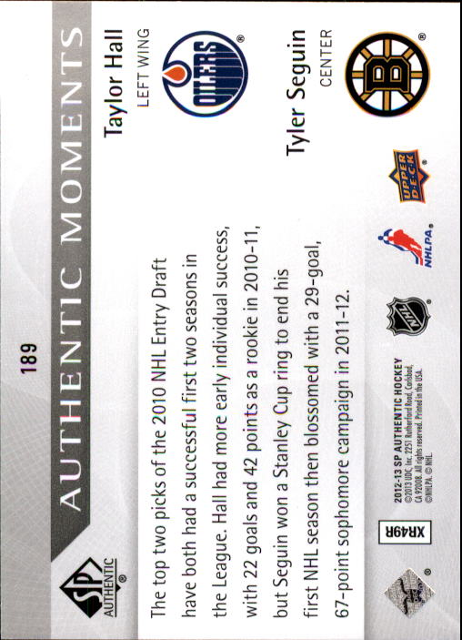 2012-13 SP Authentic #189 Taylor Hall AM/Tyler Seguin