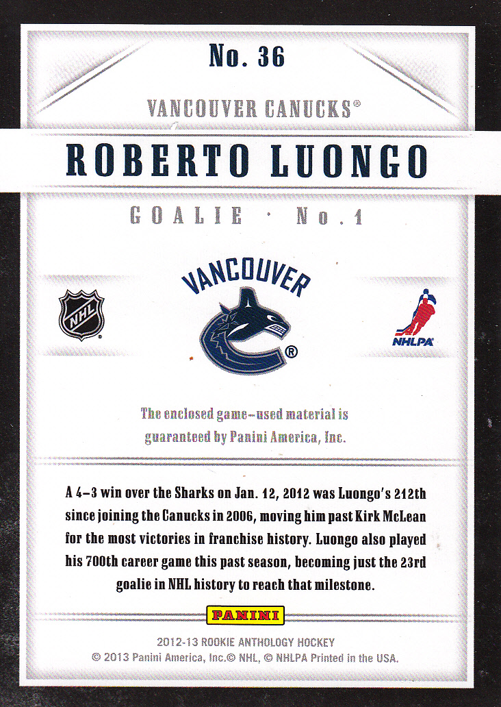 2012-13 Luxury Suite #36 Roberto Luongo STK