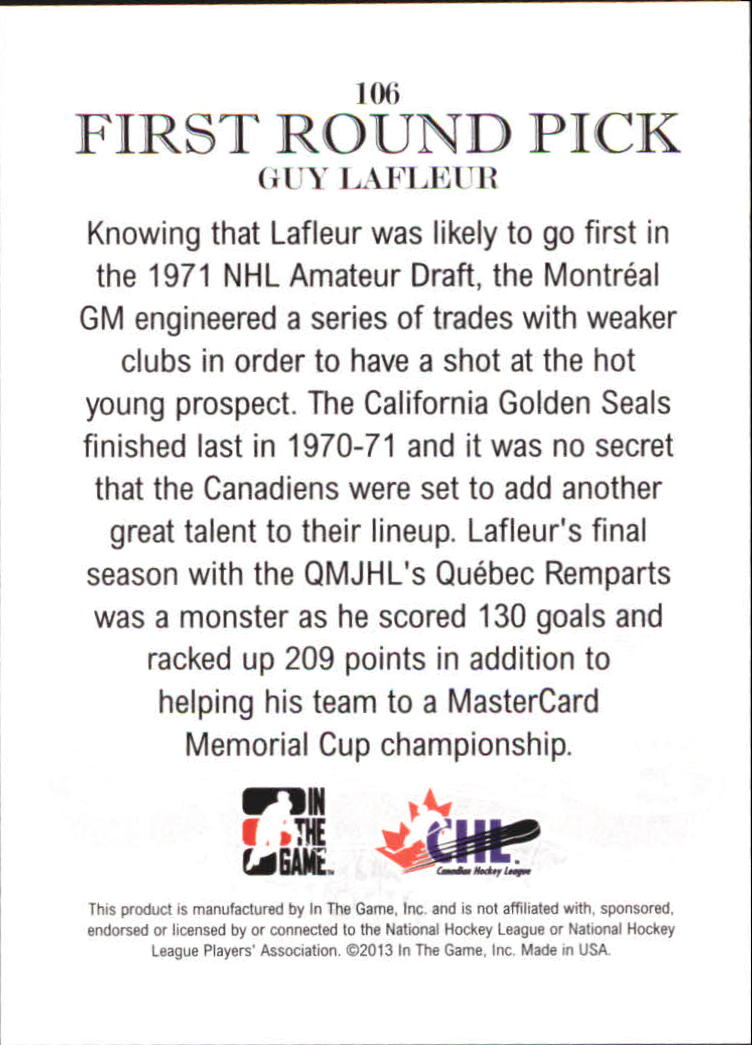 2012-13 ITG Draft Prospects #106 Guy Lafleur FRP