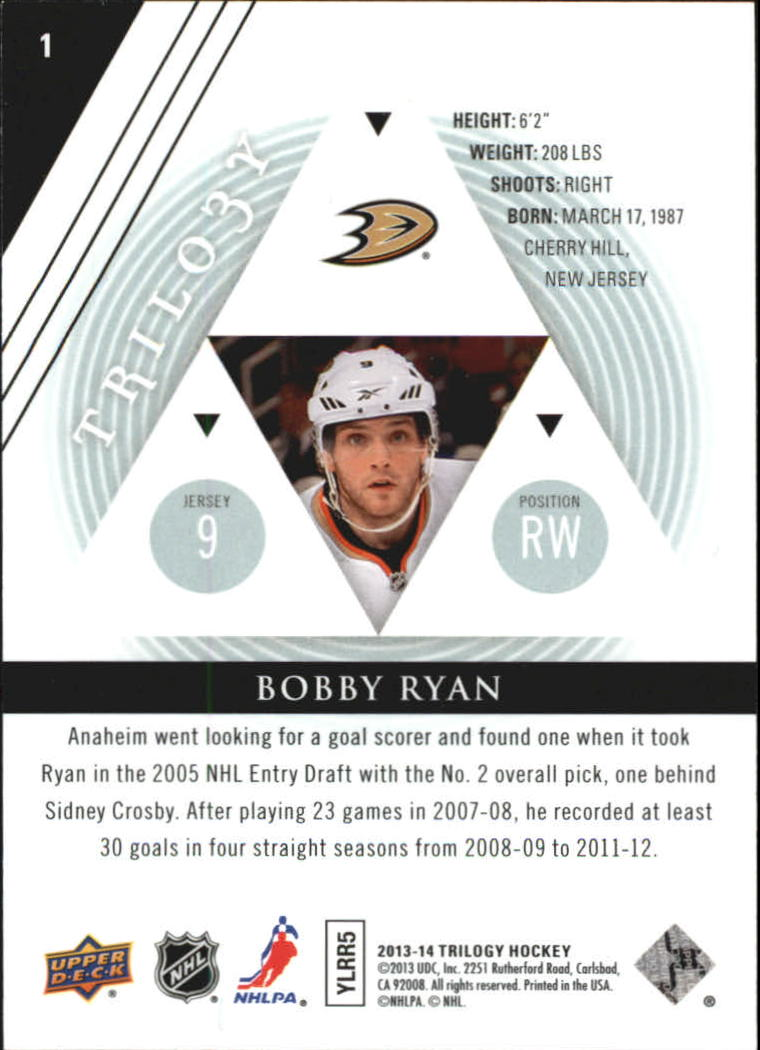 2013-14 Upper Deck Trilogy #1 Bobby Ryan back image