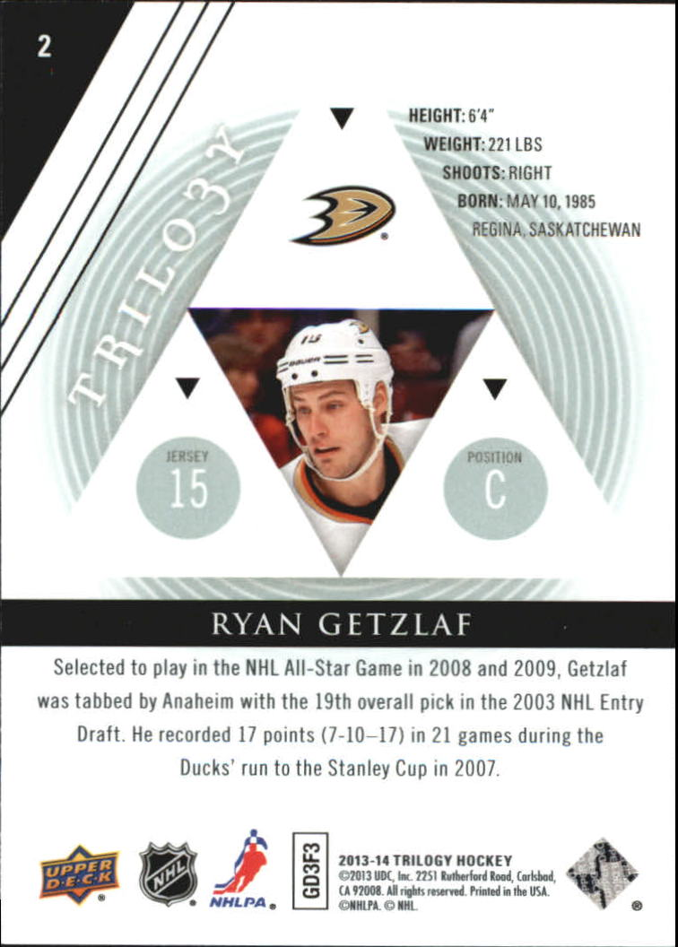 2013-14 Upper Deck Trilogy #2 Ryan Getzlaf back image