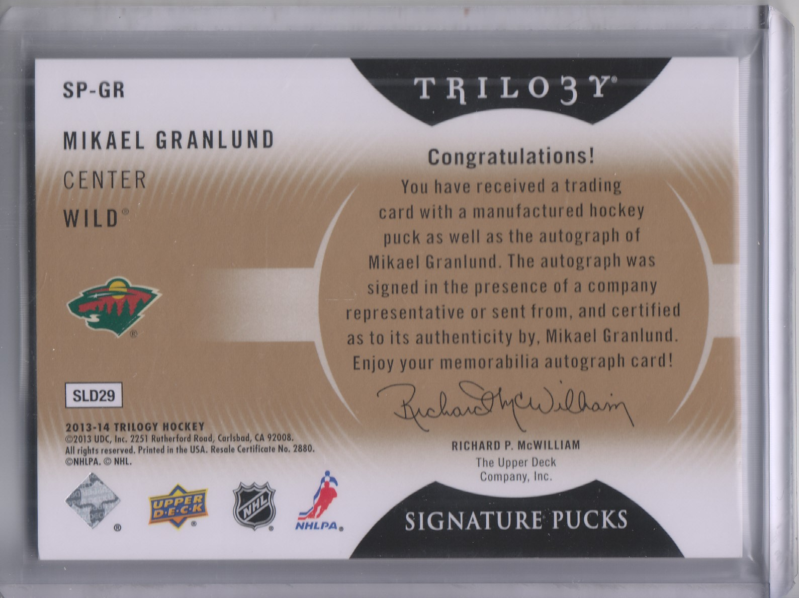 2013-14 Upper Deck Trilogy Signature Pucks #SPGR Mikael Granlund E back image