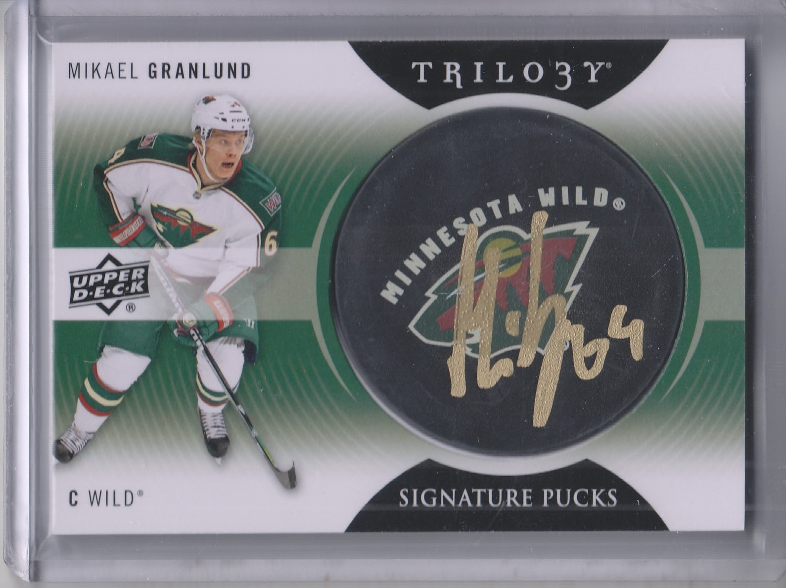 2013-14 Upper Deck Trilogy Signature Pucks #SPGR Mikael Granlund E