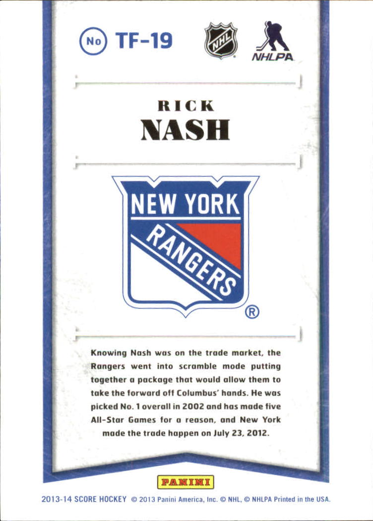2013-14 Score Franchise #19 Rick Nash