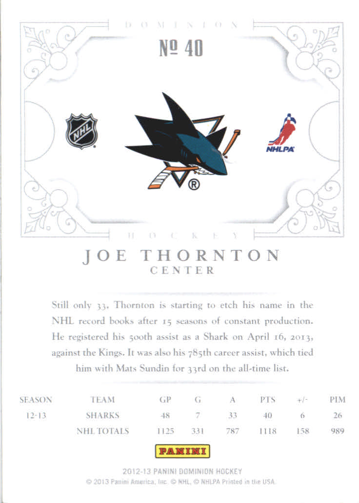 2012-13 Dominion #40 Joe Thornton