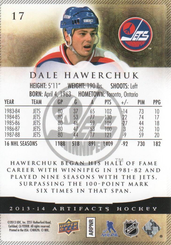 2013-14 Artifacts #17 Dale Hawerchuk
