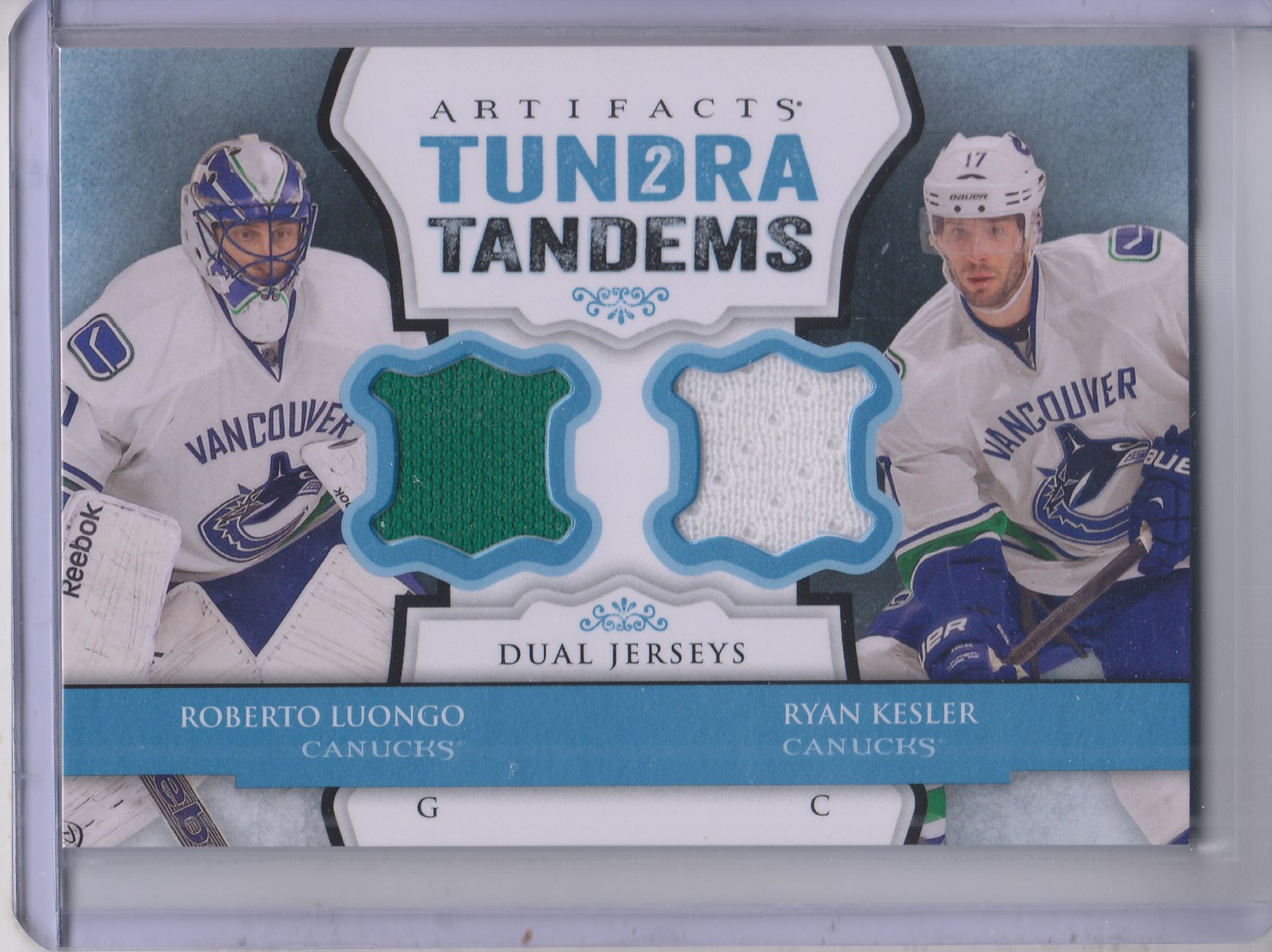 2013-14 Artifacts Tundra Tandems Jerseys Blue #TTLK Roberto Luongo/Ryan Kesler B