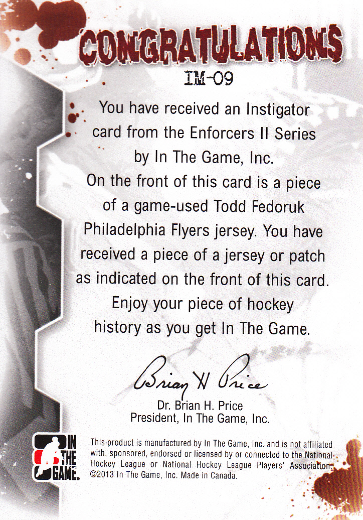 2013-14 ITG Enforcers Instigator Jerseys Patches #IM09 Todd Fedoruk