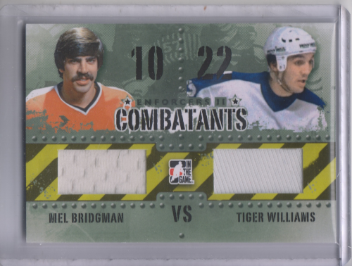 2013-14 ITG Enforcers Combatants Jersey Duals #C37 Mel Bridgman/Tiger Williams