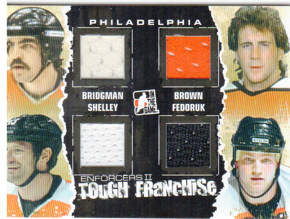 2013-14 ITG Enforcers Tough Franchise Jerseys Quad #TF03 Mel Bridgman/Dave Brown/Jody Shelley/Todd Fedoruk