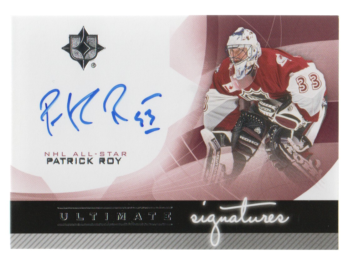 2012-13 Ultimate Collection Ultimate Signatures #USRO Patrick Roy A/(inserted in 2013-14 Ultimate Collection)