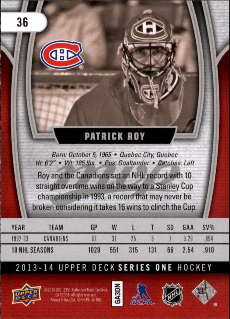 2013-14 Upper Deck MVP #36 Patrick Roy