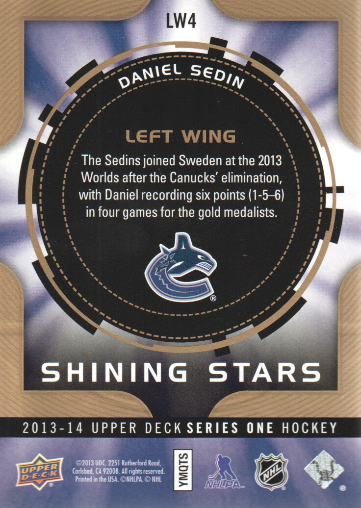 2013-14 Upper Deck Shining Stars Left Wing #LW4 Daniel Sedin