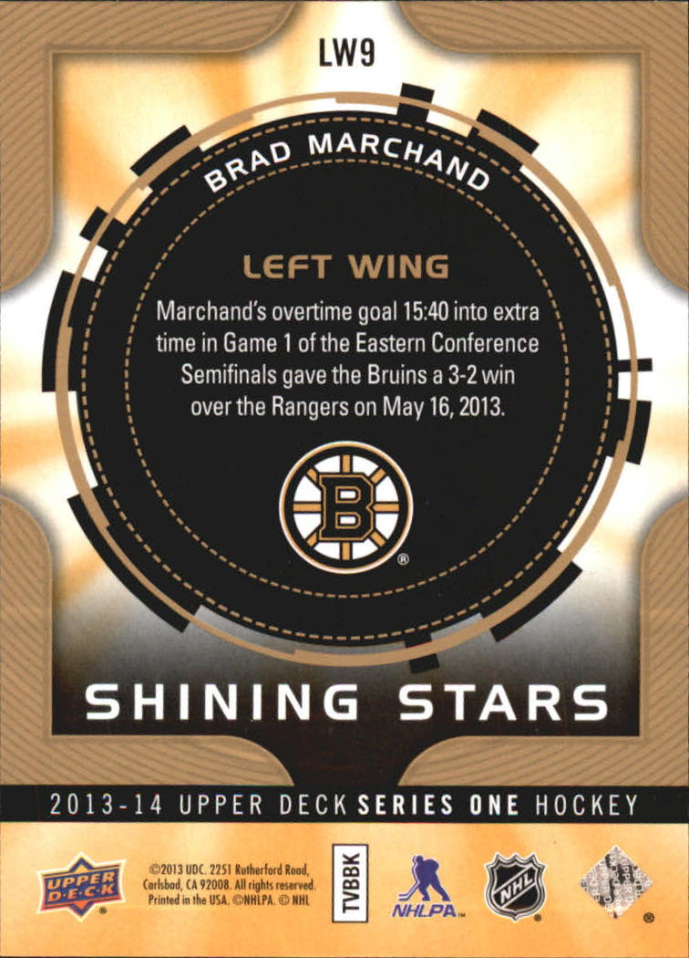 2013-14 Upper Deck Shining Stars Left Wing #LW9 Brad Marchand