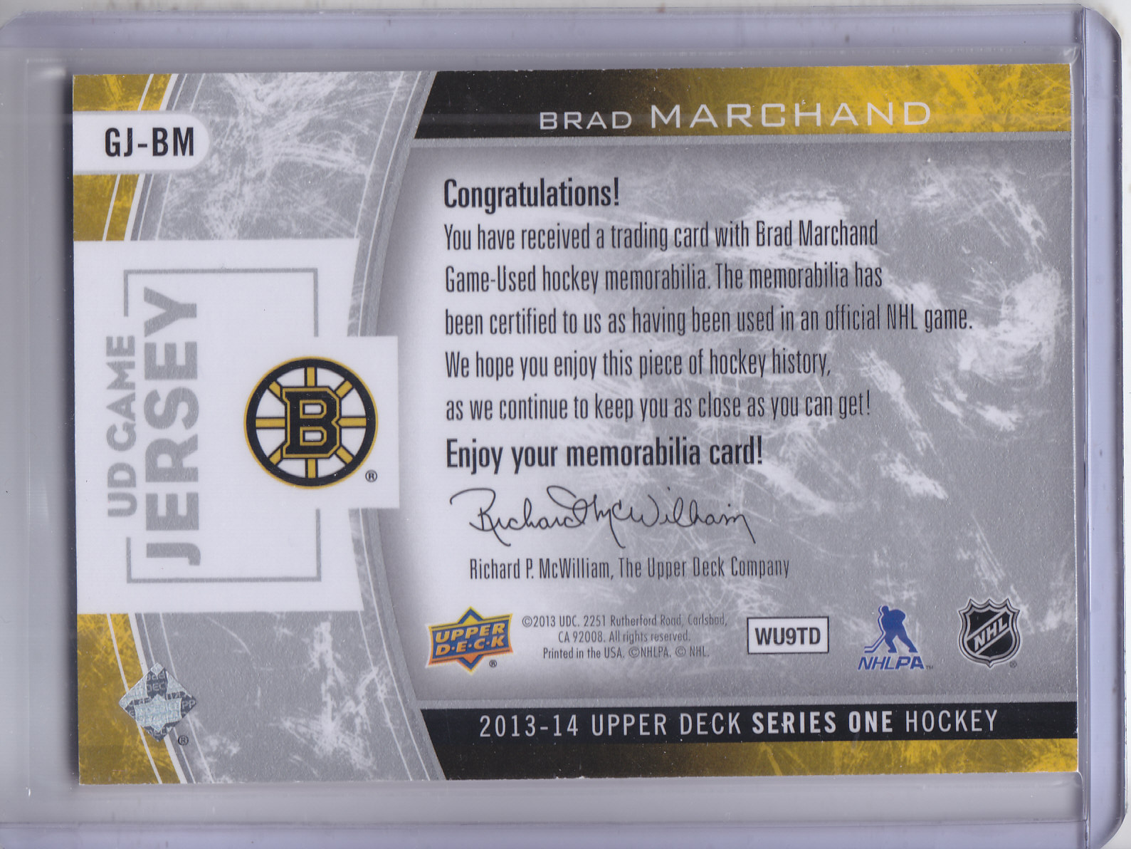 2013-14 Upper Deck Game Jerseys #GJBM Brad Marchand 1D