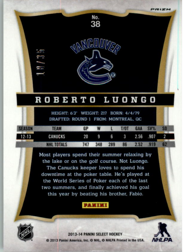 2013-14 Select Prizms Red #38 Roberto Luongo