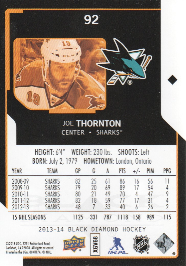 2013-14 Black Diamond #92 Joe Thornton