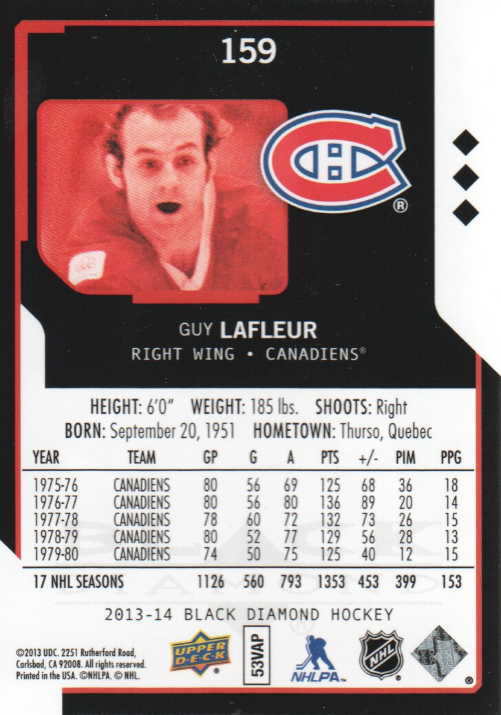2013-14 Black Diamond #159 Guy Lafleur