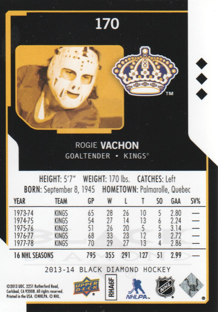 2013-14 Black Diamond #170 Rogie Vachon