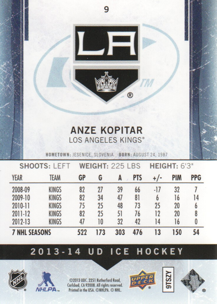 2013-14 Upper Deck Ice #9 Anze Kopitar back image