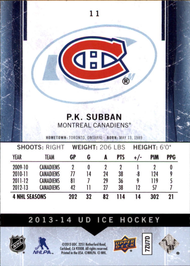 2013-14 Upper Deck Ice #11 P.K. Subban back image