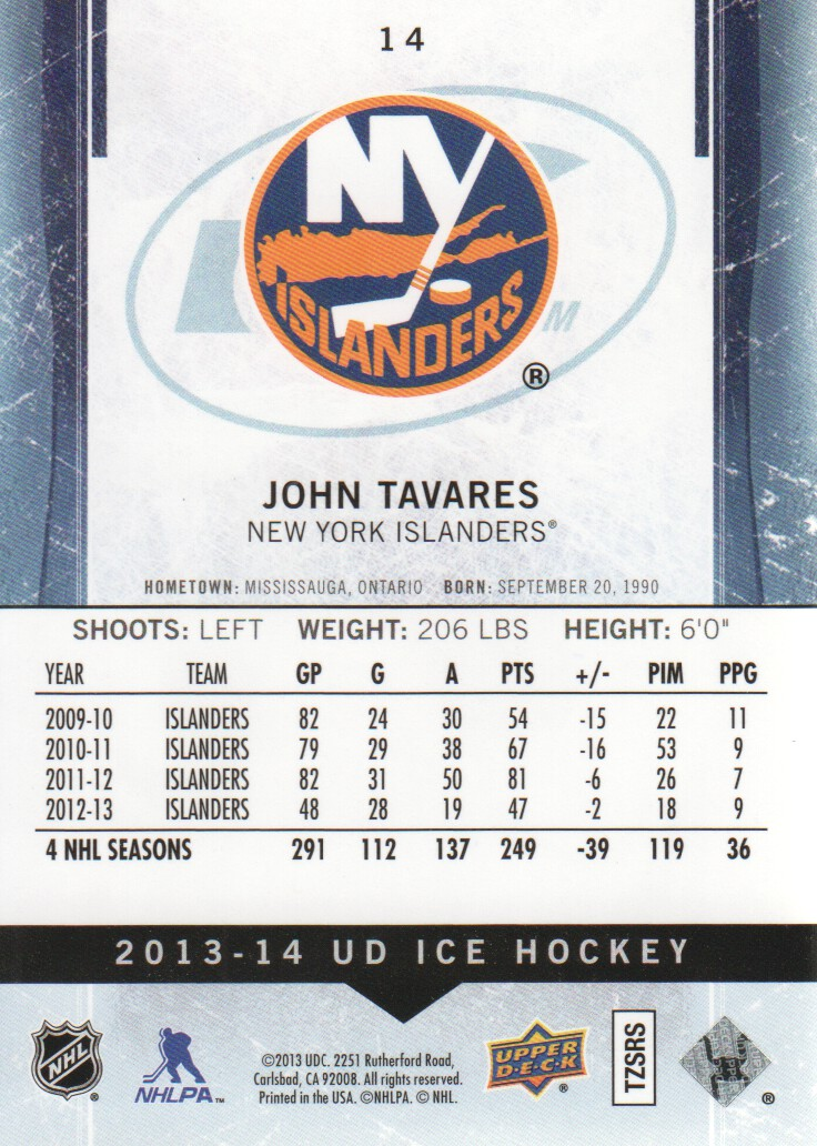 2013-14 Upper Deck Ice #14 John Tavares back image