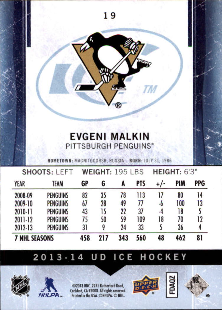 2013-14 Upper Deck Ice #19 Evgeni Malkin back image
