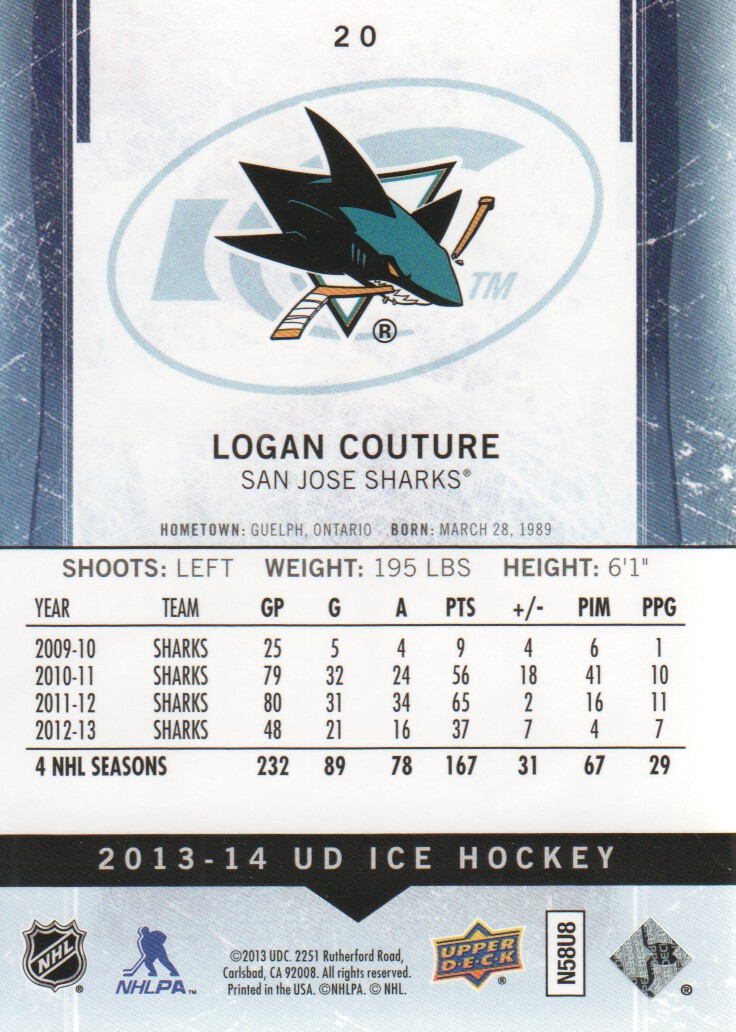 2013-14 Upper Deck Ice #20 Logan Couture back image