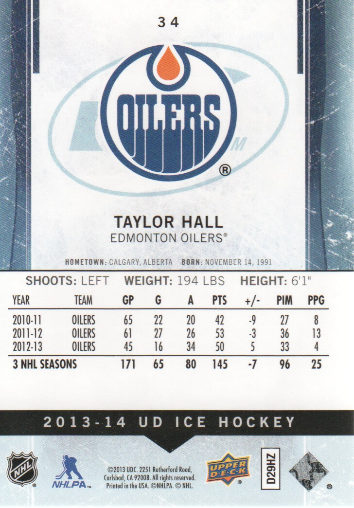 2013-14 Upper Deck Ice #34 Taylor Hall