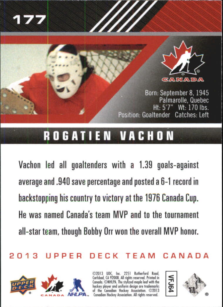 2013-14 Upper Deck Team Canada #177 Rogie Vachon