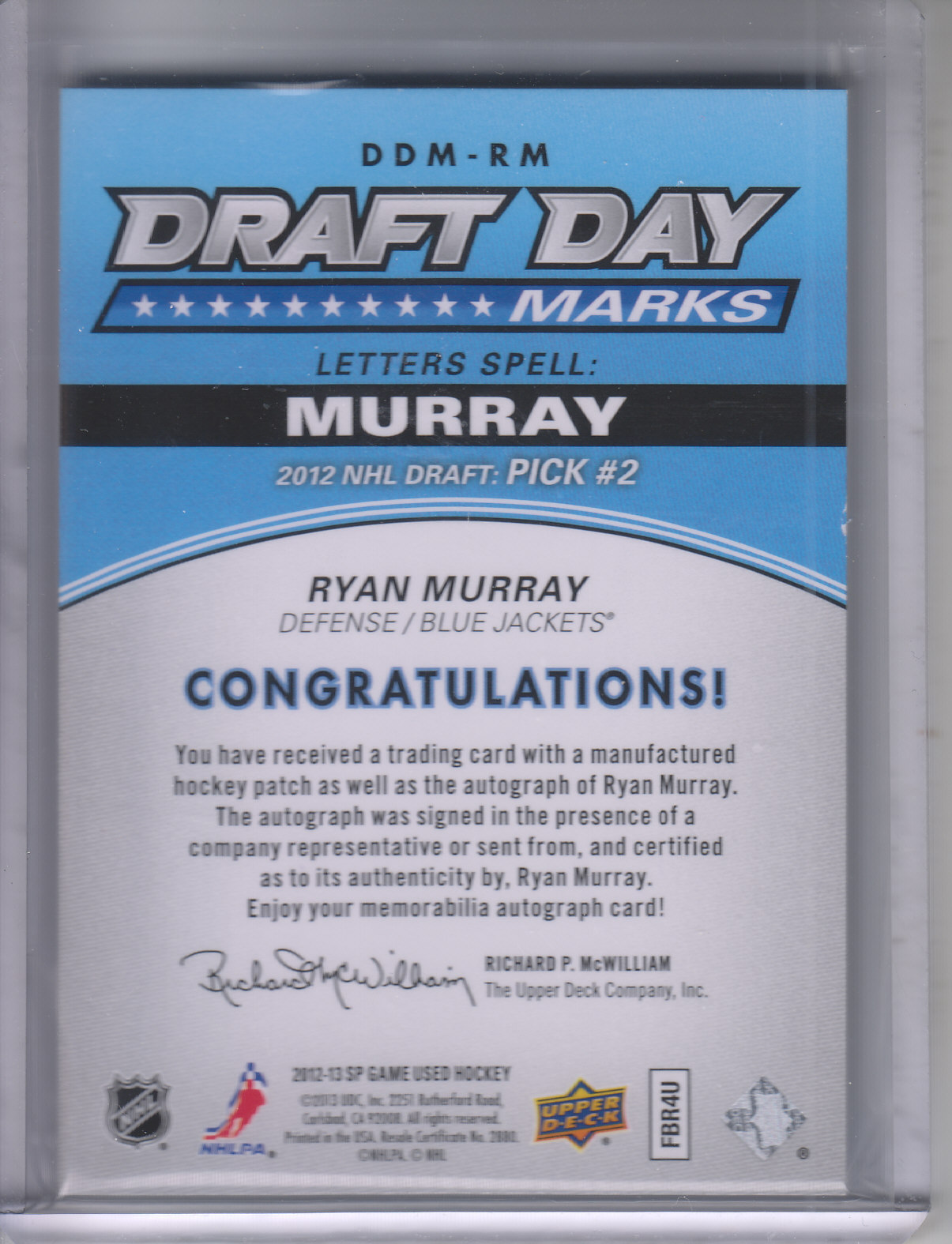 2013-14 SP Game Used Draft Day Marks #DDMRM2 Ryan Murray M/35