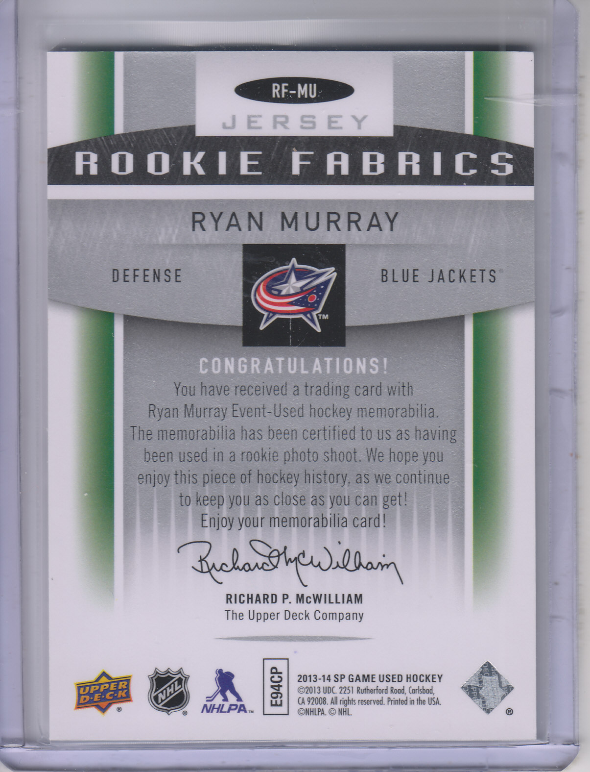 2013-14 SP Game Used Rookie Fabrics #RFMU Ryan Murray B
