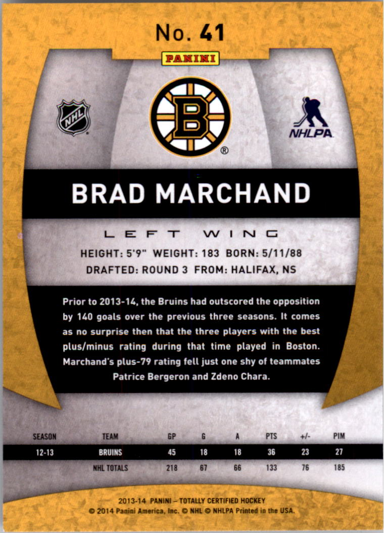 2013-14 Totally Certified #41 Brad Marchand