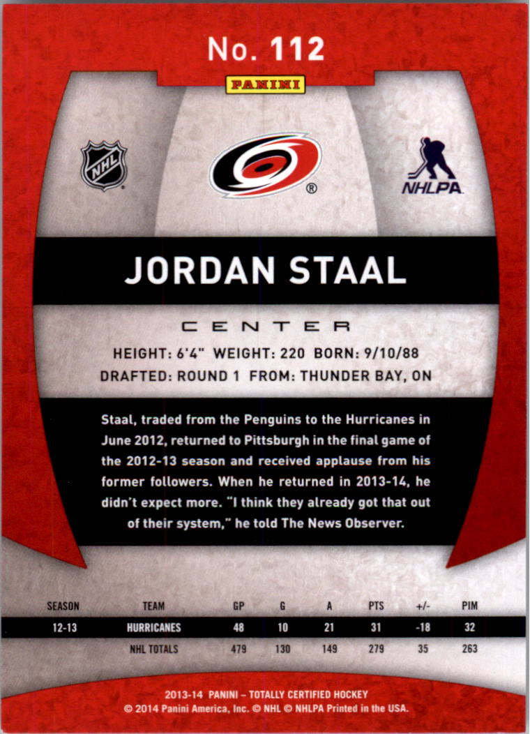 2013-14 Totally Certified #112 Jordan Staal