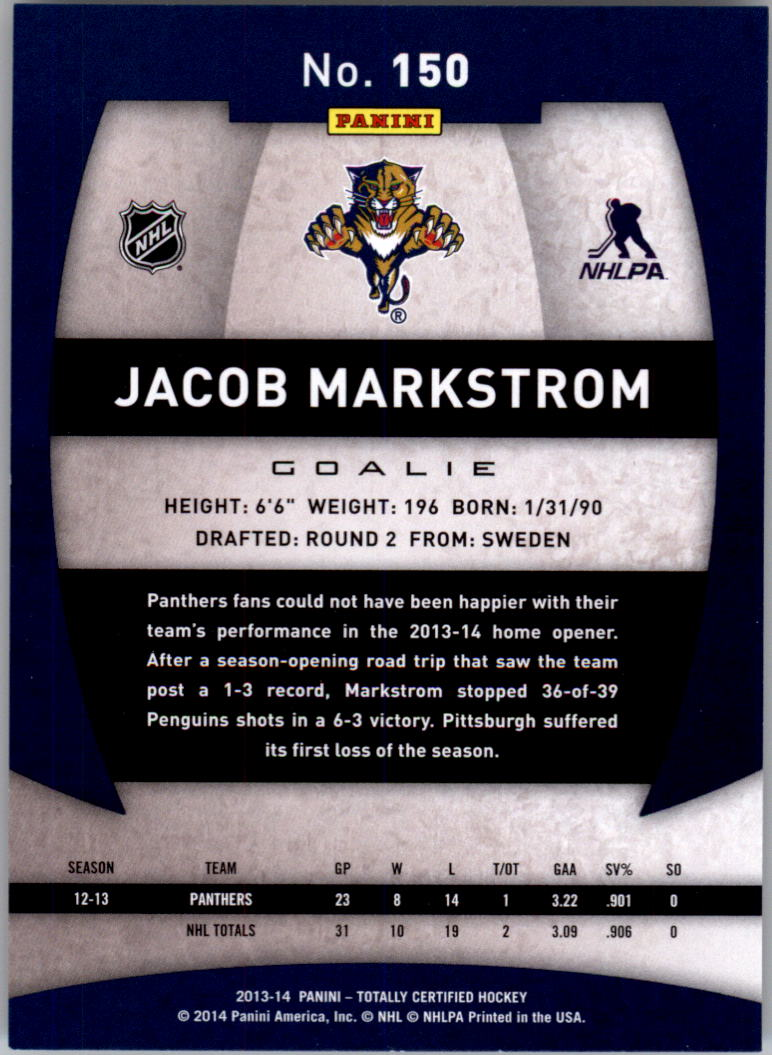 2013-14 Totally Certified #150 Jacob Markstrom