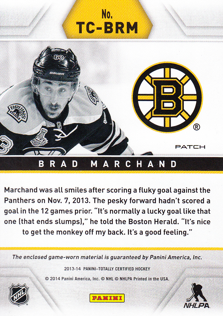 2013-14 Totally Certified Jerseys Patch Gold #TCBRM Brad Marchand/25